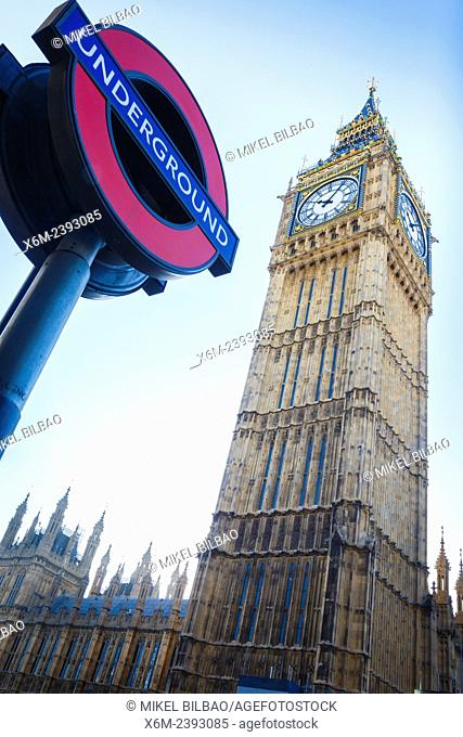 Big Ben and Underground symbol. London, England, United kingdom, Europe