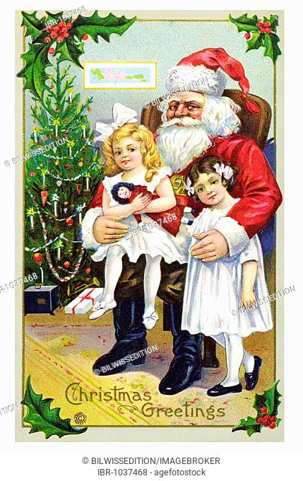 Historical Christmascard, Father Christmas with two girls in front of Christmas tree, Christmas greetings