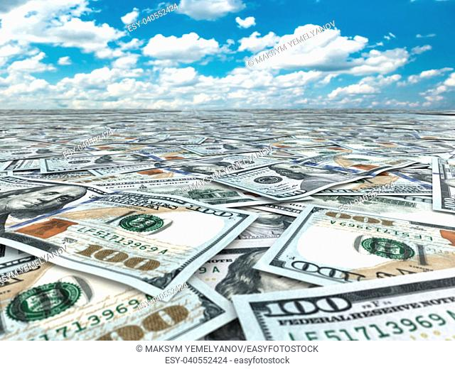 A lot of dollar banknotes and sky. 3d