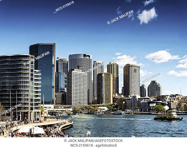 sydney central CBD and circular quay urban skyline in australia on sunny day