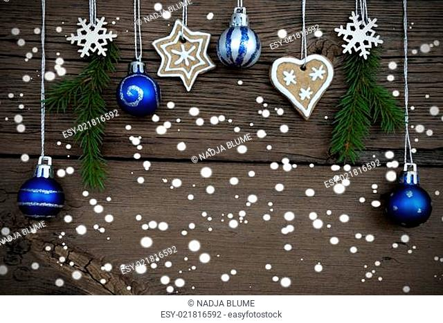 Winter Decorated Christmas Background with Snow