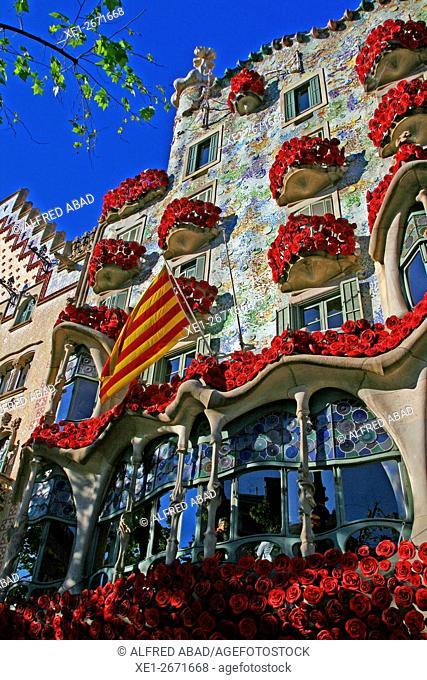 Floral decoration of the Casa Batllo in Sant Jordi 2016, Barcelona, Catalonia, Spain