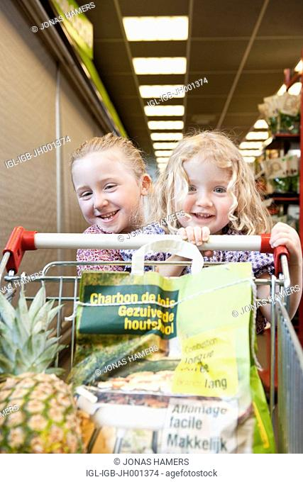 Two little girls with a supermarket caddie full of goods and fresh food