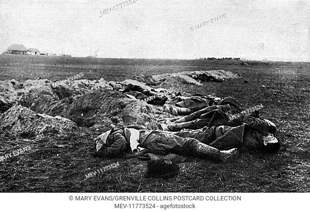Dead soldiers on the eastern front, Russia, during the First World War. Graves have been partially dug, but surviving soldiers must have left in a panic