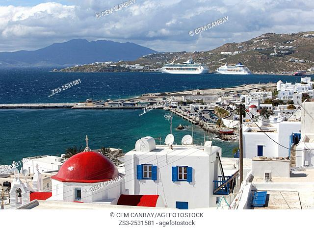 Red domed church with the port and cruise ships at the background in Mykonos town, Mykonos, Cyclades Islands, Greek Islands, Greece, Europe