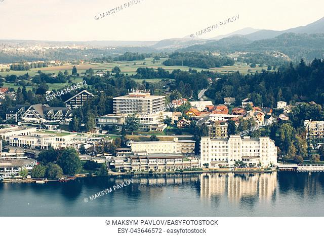 View from the castle to Lake Bled and the surrounding neighborhood. Slovenia