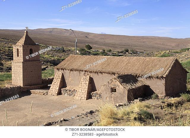 Chile, Antofagasta Region, Socaire, village, church,