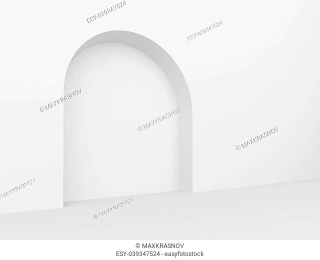 3d Illustration of White Arch Interior Background
