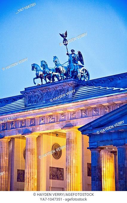 Brandenburg Gate Berlin Germany In Winter with Snow