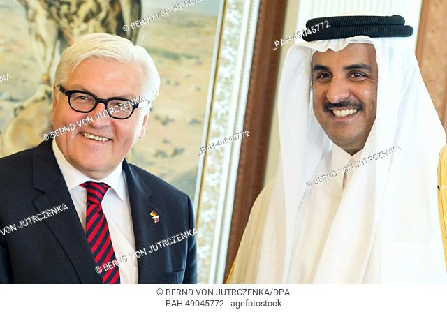 German Foreign Minister Frank-Walter Steinmeier (L) meets with the Emir of the State of Qatar, Sheikh Tamim bin Hamad bin Khalifa Al Thani (R) on his arrival in...