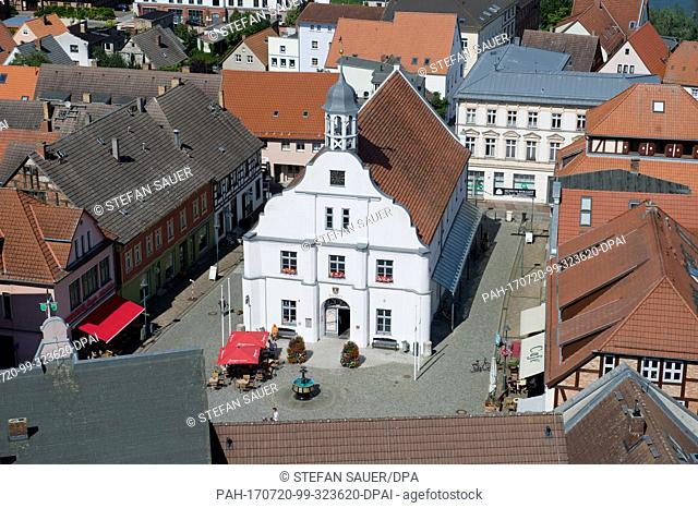 An aerial view of the city hall in Wolgast, Germany, 20 July 2017. The city received its official designation in 1282 and was modelled on nearby Luebeck