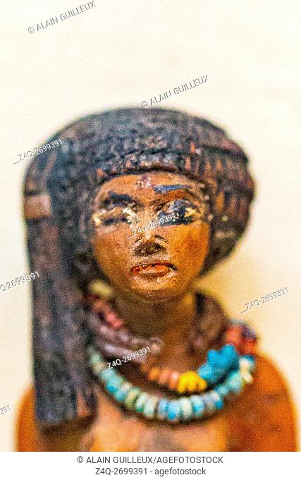 Egypt, Cairo, Egyptian Museum, statuette of Tama as a young girl, wood, from her tomb in Kom Medinet Ghurob, reign of Amenhotep III