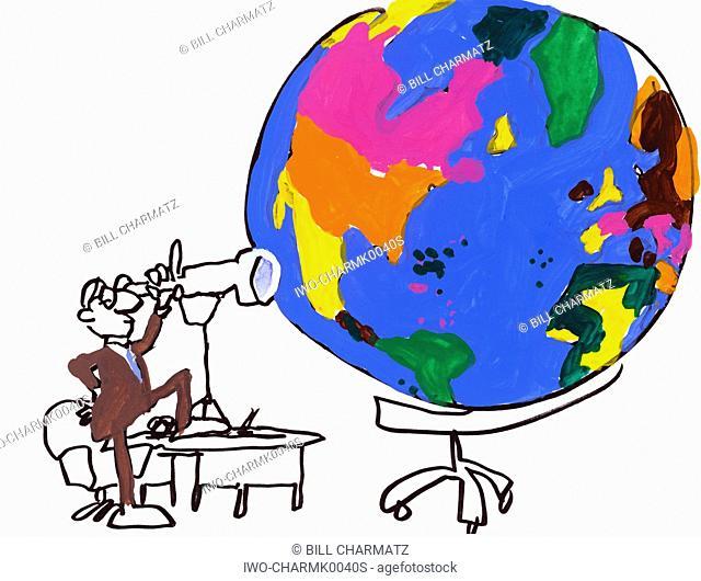 Businessman Surveys The Globe