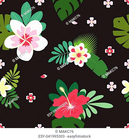 pink and white hibiscus flowers with palm leaves and plumeria on black background, hawaiian tropical natural floral seamless pattern