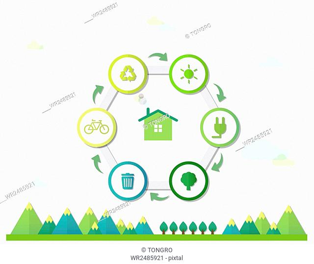 Infographic diagrams of hexagon with icons related to environmental protection