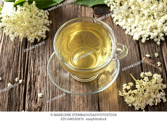 A cup of herbal tea with fresh elder flowers on a table