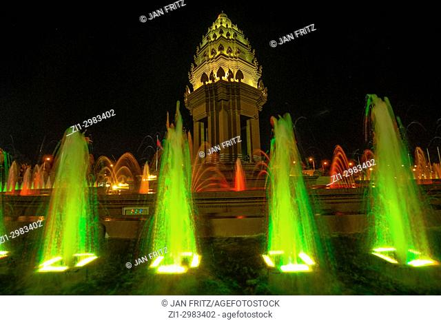 Colourful fountain in front of Independence Monument in Phnom Penh, Cambodia
