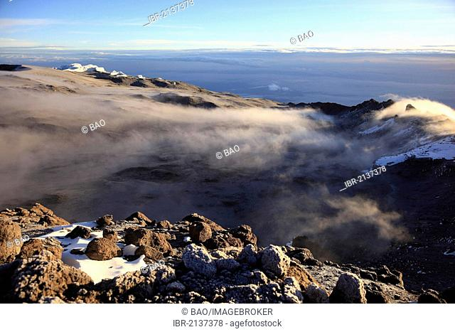 Morning fog in the crater of Mount Kilimanjaro, Tanzania, Africa