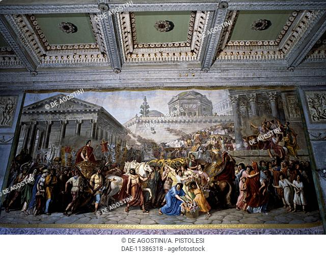 Stories of the Emperor Trajan, left fresco in the Hall of the General Council of the Republic of Lucca, known from the 19th century as the Hall of the Guards