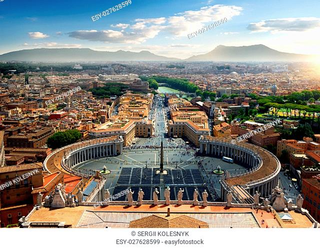 Aerial view on Vatican and piazza, Italy