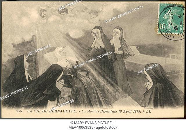 When Bernadette Soubirous dies, a nun, at Nevers, not only do nuns hover round her deathbed, but angels hover overhead