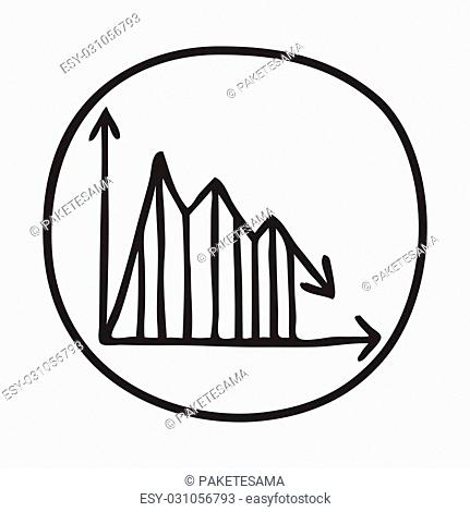 Doodle Graph icon. Infographic symbol in a circle. Line art style graphic design element. Web button. Decline, save on expences concept