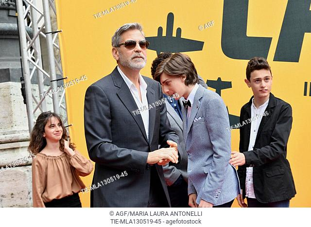 Viola Pizzetti, George Clooney, Giovanni Stocchino, Domenico Cuomo during 'Catch-22' TV show photocall, Rome, Italy - 13 May 2019