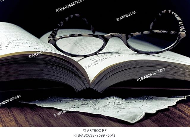 Eyeglasses on a open book