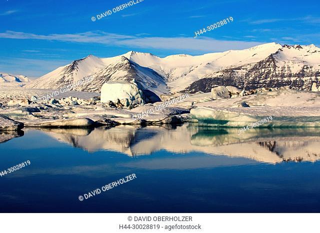 Mountains, ice, floes, Europe, glacier lagoon, Island, Jökulsarlón, sceneries, reflexion, volcano island, water, winter