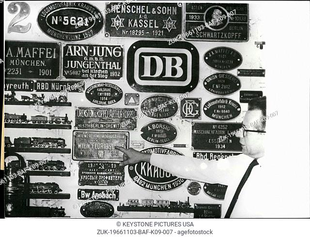 Nov. 03, 1966 - Pictured here is a collection of signs from steam locomotives that Hermann Sikora of Nuremberg has collected over the years