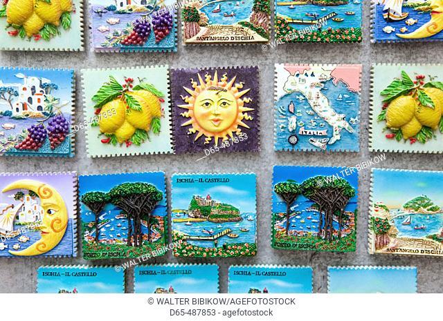 Souvenir Fridge Magnets. Ischia Ponte. Ischia. Bay of Naples. Campania. Italy