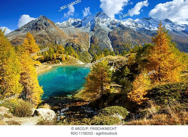 Lac Bleu, Grande Dent de Veisivi, Dent de Perroc, Aiguille de la Tsa, Wallis, Schweiz