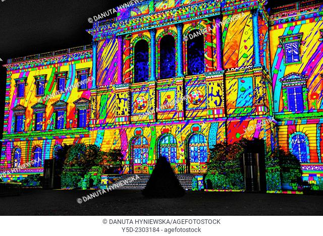 light show projected on facade of Bastions University building, University of Geneva, Switzerland