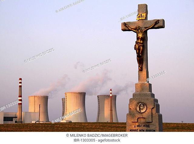 Crucifix in front of the Dukovany Nuclear Power Station of the CEZ Group, South Moravia, Czech Republic, Europe