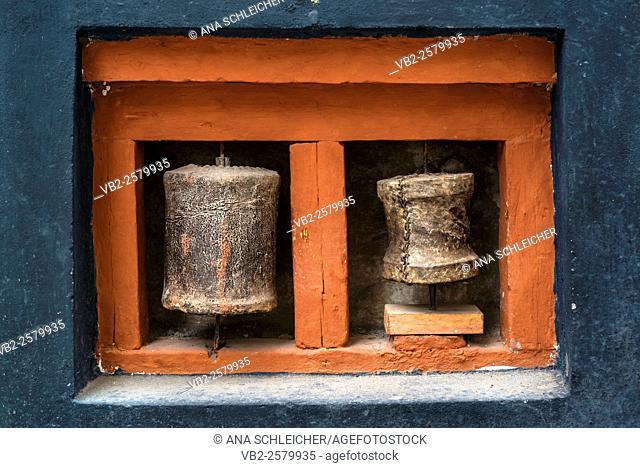 Buddhist prayer -rolls. Hemis gompa. Indus valley, Ladakh (india)