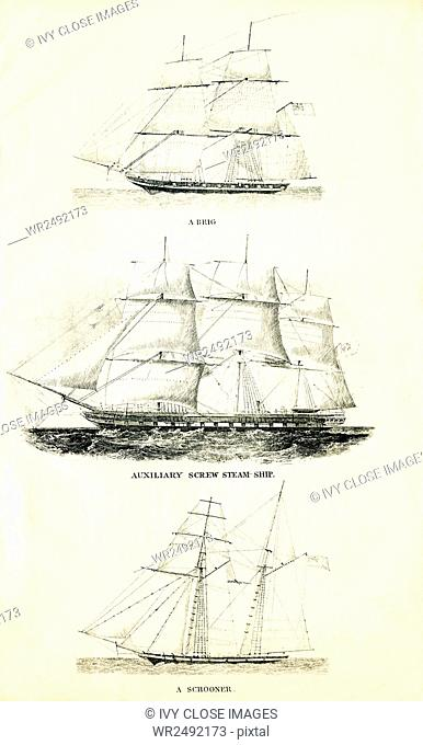 These three ships are, from top to bottom: a brig, an auxiliary steam ship, and a schooner. The illustration dates to the 1800s