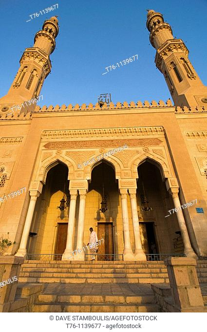 The Tabia Grand Mosque in Aswan Egypt lit up at sunset