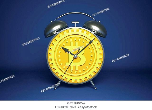 Abstract golden alarm clock with gear bitcoin dial. Money, cryptocurrency and time concept. 3D Rendering