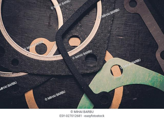 Close up shot of various engine gaskets