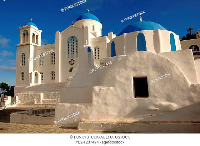 Blue domed Byzantine Greek Orthodox Chapel of Panaghia Gremiotissa  Chora Hora, Ios, Cyclades Islands, Greece