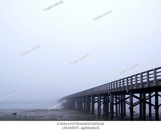 Powder Point Bridge in early morning fog, Duxbury. Massachusetts, USA