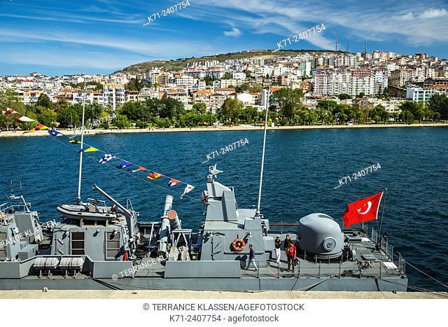 A Turkish military vessel in the Black Sea port city of Sinop, Turkey