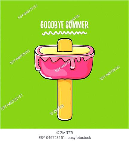 vector goodbye summer vector concept illustration with melt pink ice cream on green background. End of summer background