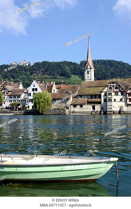 View at Stein at the Rhine with castle high blades, Lake of Constance, Thurgau, Switzerland