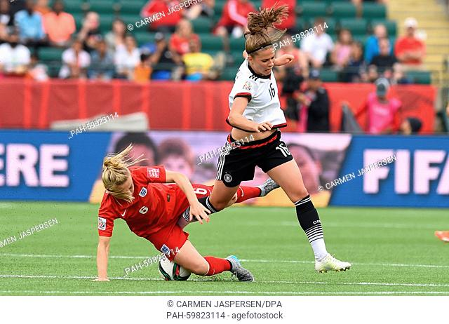 Germany's Melanie Leupolz (R) and Laura Basset from England vie for the ball during the FIFA Women's World Cup 2015 third place soccer match between England and...
