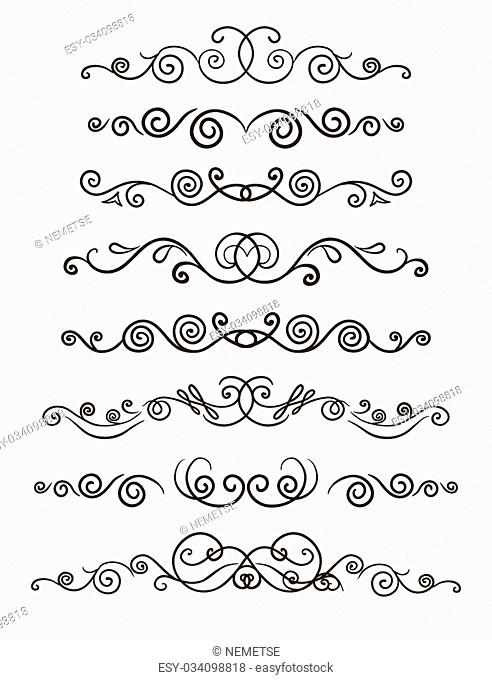 Collection of hand drawn line borders, Set of floral ornaments and waves. Vector illustration