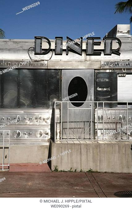 USA, Florida, Miami, South Beach, art deco diner in South BeachNo property release