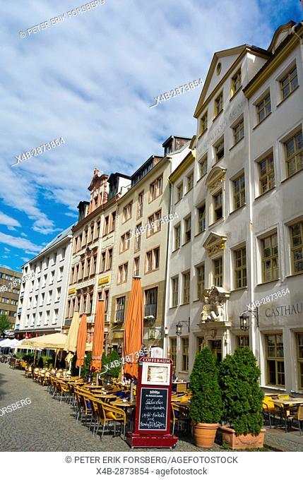 Kleine Fleischergasse, restaurant nightlife street, Altstadt, Leipzig, Saxony, Germany