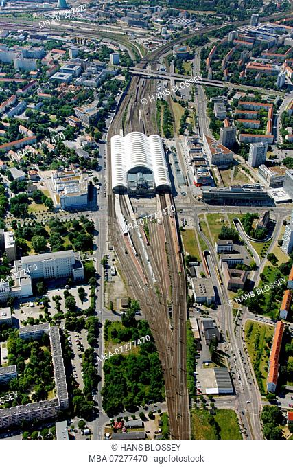 Dresden Central Station, Main Station, aerial view, Strehlener Straße, Dresden, Saxony, Germany, Europe