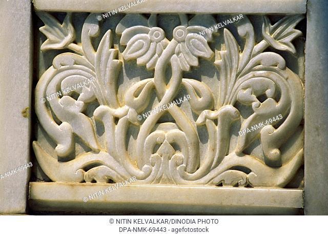 Delicate marble carving in lord Venkateswara temple , Hyderabad , Andhra Pradesh , India